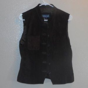 Brown leather suede vest